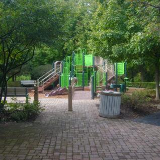 brick path into playground