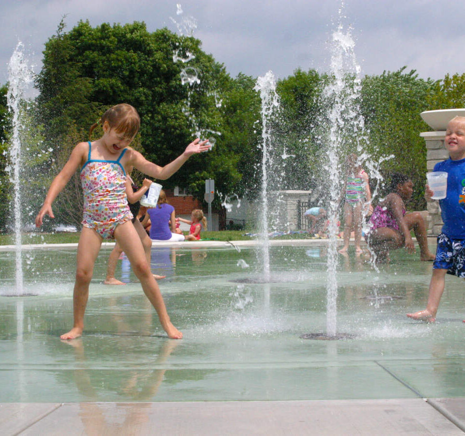 Kids in a spray park
